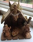 FONTANINI DEPOSE 1988 NATIVITY WOOD STABLE 5 STARTER FIGURES  54051