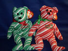 Lot of (2) Ty Christmas Beanie Babies - 2007 Holiday Teddy, Red and Green     0e