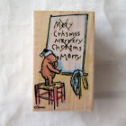Winnie the Pooh Disney Mounted Rubber Stamp Merry Christmas All Night Media