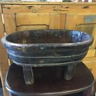 Primitive Antique Vintage Style Wood Wooden Tub Planter Bath Bowl Country Farm