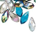 40 OCEAN MIX Glass Crystal Faceted Briolette 12x6mm Teardrop Beads