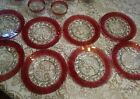 8 Vintage Indiana Glass Kings Crown Ruby Flashed Set of 8, 8.25