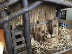 Old 33 Piece Vintage Hand Carved Wood Nativity SET Figurines Animals Barn ITALY
