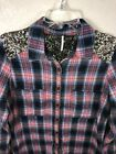 Free People Little Bit of Sugar Sequin Plaid Flannel Tunic Shirt Small S