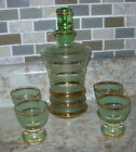Emerald Green Glass decanter and 4 glasses frosted and gold stripes, 1950's