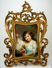 ATQ 1800s Cast Iron Gilt Brass Baroque Picture Frame with J. Russell Art Print