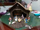 Mid Century Cardboard And Paper Mche Nativity Set With Manger Italy