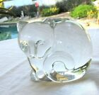 TIFFANY  CO ART GLASS CRYSTAL CAT FIGURINE PAPERWEIGHT
