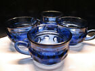 Vintage Cobalt Blue Color Crown by Colony Glass Co Set of 4 Cups