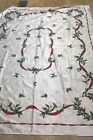 Elegant Vintage Christmas Tablecloth Holly  Ribbons