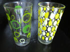 Mid-Century Modern Green Yellow Dot Glass Drink Tumblers  1 each color