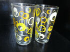 Mid-Century Modern Yellow Dot Glass Drink Tumblers Set of 2