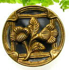 LOVELY VICTORIAN METAL BUTTON WITH FRAMED FLOWER N12