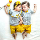 US Big Little Sister Brother Matching Baby Girl Boy Tops Shorts Outfits Clothes