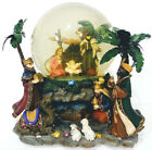 SANKYO VTG Nativity Snow Globe Music Box Silent Night Rotating Base Model 235673