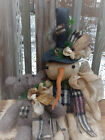 FoLK Art PRIMITIVE ChrisTmas SNOWMAN Teddy Bear DOLL Holiday Home DecoraTion TaG