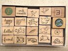 26 mounted rubber stamps 12 Ink Pads