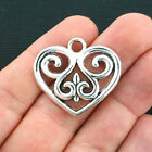 4 Large Heart Charms Antique Silver Tone SC4101