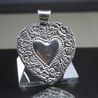Vintage Large Country Heart Pendant Sterling Silver 2 7 8 Length