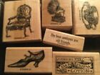 stamp set rubber wood mounted some staining good condition