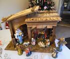 VINTAGE ITALIAN MANGER CREECH THATCHED ROOF 11 PIECE NATIVITY SET MAD IN ITALY