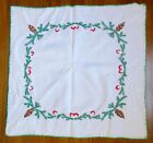 VINTAGE HAND EMBROIDERED GERMAN CHRISTMAS TABLECLOTH TOPPER w cute mushrooms