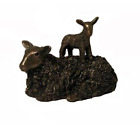 Ewe with frisky Lamb on her back - Delightful large cold cast bronze...
