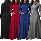 Womens Clothing Pocket Cowl Neck Long Sleeve Swing Party Evening Maxi Full Dress