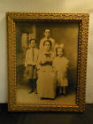 WOOD ORNATE FRAME W/ EARLY 1900s FAMILY PHOTO 13.5