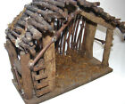 VINTAGE RUSTIC WOODEN NATIVITY CRECHE MANGER STABLE BARN w MOSS Wood CHRISTMAS