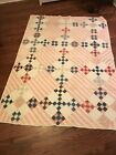 ANTIQUE SHIRTING FABRICS HAND QUILTED AND PIECED ~ 59 X  82