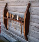 Primitive Hanging Wall Rack for Wooden Spoons 1700s Wood Original Red Paint