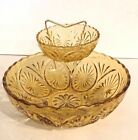 Vintage Chips and Dip Bowls Anchor Hocking Glass Honey Gold in Box