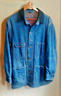 Distressed Destroyed Jean Jacket Vtg Long Denim Field Blanket Lined Warm Blue