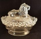 Nesting Lion Glass Covered Dish Imperial Lenox Glass 7.5