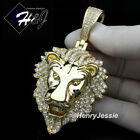 MEN 14K GOLD FINISH ICY DIAMOND BLING GOLD LION KING HEAD PENDANTBGP5
