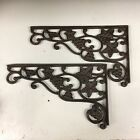 Pair Cast Iron Grape Vine Shelf Brackets Wine Rustic Garden Braces Antique Style