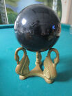 PEDESTAL BLACK GLASS BALL ON METAL SWAN STAND 5 X 9  PAPERWEIGHT FIGURINE