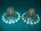 VINTAGE CANDLEWICK CANDLE HOLDERS BOOPIE CLEAR GLASS BY ANCHOR HOCKING ~ NICE