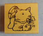 DJ Inkers Wood Mounted Rubber Stamp Adorable Chubby Kitten
