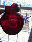 Vintage Anchor Hocking Royal Ruby Roly Poly Ball Pitcher W/Ice Lip 96 OZ 3 Qt