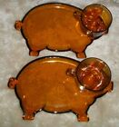 Two vintage Indiana glass, amber pig saucers with matching tea cups still in box