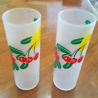 2 MCM Frosted Highball Ice Tea Bar Ware Fruit Design Glasses Lemon Pineapple