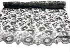 ANTIQUE PURE SILK CHANTILLY LACE FABRIC 1 SCALLOPED EDGE 46