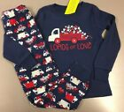 GYMBOREE NAVY RED LOADS OF LOVE TRUCKS VALENTINE PAJAMAS GYMMIES PJS 4 NWT