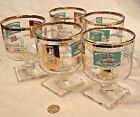 5 Vintage Libbey Turquoise Gold Square Footed Steam River Boat Cocktail Glasses