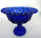LE Smith Moon and Stars Cobalt Blue Pedestal Ruffled Candy Dish 345B