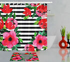 White & Black Striped Watercolor Floral Waterproof Fabric Shower Curtain Set 72