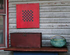 Antique Gameboard Checkerboard  Original Red Black Paint Breadboard Ends NR