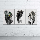 3 Native Americans Canvas Wall Art Decor Of Figures and Portraits
